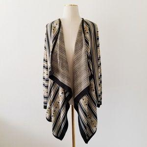 Striped Open Knit Drape Aztec Cardigan Sweater